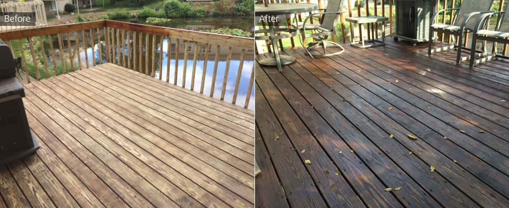 Before and after deck staining pictures in North Canton, Ohio.